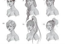 yüz saç ve karakter çizimleri