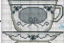 filiżanki / cross stitch teacups & coffeecups