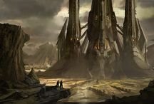 Concept Art - Environments / The artwork for movies and games used for look development by the director.