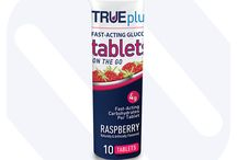 Fast-acting Glucose / TRUEplus Glucose products provide a measured, convenient and readily available dose of fast-acting glucose. Available as glucose tablets, drinks, and gels the TRUEplus range is the ideal solution for raising low blood sugars.