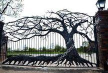 Brama kuta drzewo dębu