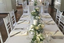 Long Wedding Tables / Linear centerpieces and garlands for long rectangle wedding tables.
