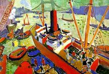 """FAUVISM AND MATISSE (1905-8) / FAVUE means """"Wild beasts"""" Took on the name, they wanted people to know them as this. Artists want to push and outrage.  Path to purity  Looking at the sense of emotional colour, flat simple colour and its linear line. Moving from Van Gogh & Seurat.   Mostly happening in France. France was the centre of the art world.   Art is subjective, we look at it in how we personally feel.  KEY PTS:  -Heightened, non-naturalistic colour -Distorted form -Broken brush marks -Painting as personal expression-"""