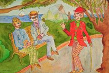 """"""" ne parlez jamais avec des inconnus """" / """" ne parlez jamais avec des inconnus """"  série Boulgakov -Le Maître et Marguerite - aquarelle 31x45 cm. 2011"""