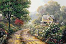 Cottages cross stitch / Cottages in cross stitch kits or patterns. Patterns available by download or email. / by Yiota's cross stitch