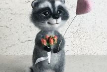 Needle felted wool raccoons