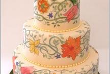 bolo pintado a mão