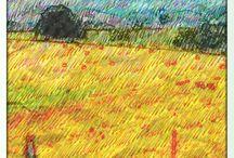 Wet felting inspiration board / ideas for wet felted landscapes