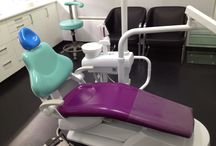 Funny Dental Chairs / I have swapped upholstery parts of the dental chairs to make multi-coloured chairs.