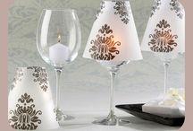 Copas de vino decoradas. / Imágenes de copas de vino decoradas.