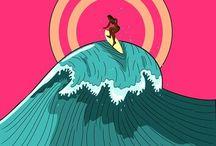 surf retro posters