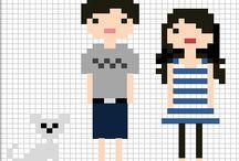 Cross stitch family portrait / Punto de cruz con figuras personalizadas, familia, animales, actividades etc