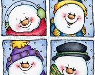 Kerst illustraties, kaarten en platen