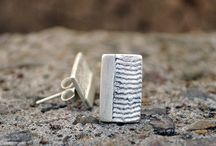 Ladie's earrings / Sterling Silver and Shibuichi Bronze handmade jewelry