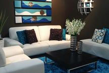 Brown and blue living / beachy colour schemes