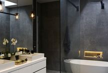 Bathroom charcoal tiles