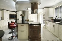Belgravia | Walnut Shaker Style. / In the spirit of haute couture, this stunning kitchen with fluid curves and hand stitched leather handles takes design to another level.  www.davonport.com/kitchens/belgravia/