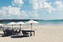 A beautiful beach. / Jimbaran Beach, Bali, Indonesia.