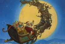 Christmas santa and sleigh