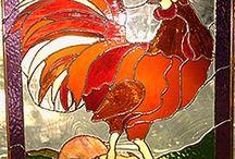 poule coq vitrail