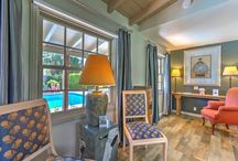 """Emperor Room at Colt's Lodge   Palm Springs CA / The Emperor Room at Colt's Lodge in Palm Springs is a beautiful poolside room with a King Sleep Number bed, a private patio, and a 40"""" flat screen Smart TV."""