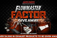 AutoPartsWarehouse.com-Flowmaster: Flowmaster Factor Giveaway / Flowmaster exhaust systems, mufflers, exhaust tips and many more up for grabs! Over $4,000 in exhaust products to be given away, so join now! ENTER HERE: http://www.autopartswarehouse.com/FlowmasterFactor / by Auto Parts Warehouse