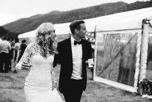 SH BRIDE: LAUREN & DAVIE / An elegant and relaxed marquee wedding in country Victoria. Lauren wears a high neck guipure lace long sleeve Suzanne Harward couture gown. This wedding was styled beautifully and you can tell it was all about fun and family!  Photography by Cake