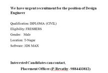 job offres for diploma civil candidate apply for this job