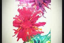 flores de crayones