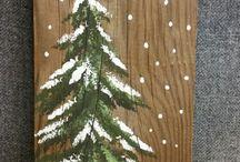 ζωγραφικη χριστ.δεντρο σε ξυλο