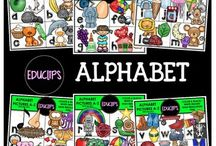 Educlips Language Arts Clip Art / Graphics sets about phonics, grammar, authors, reading and writing.