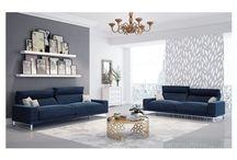 Modern Fabric Blue Sofa Collection
