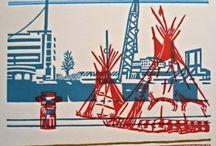 Juliette Planque - Paysages urbains / Linogravures de l'artiste Juliette Planque