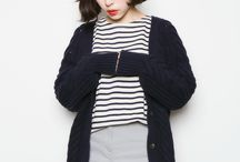 Wardrobe / Mostly stripes, blue or navy, black and white, all in casual form.