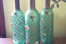 Beachy style wine Bottle & jar ideas