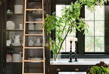 Ladder on rail to reach storage