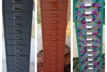 Upcycled filing cabinet / Old rusty filing cabinet upcycled into new craft draws. New colour and fabric draw fronts! Only took one day!!