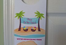 Wedding Door Hangers / A perfect treat for your out of town guests. These wedding door hangers look cute in out of town bags and hanging down the hall of your hotel. Handmade by Designed By M.E Stationery (me!!)