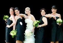 Bride & Bridesmaids   Bouquets   White & Black