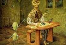 Remedios Varo ; Mystical Surrealist / Remedios Varo (December 16, 1908 - October 8, 1963) was a Spanish-Mexican Mystical Surrealist painter. She was born in Anglés Cataluña, Spain in 1908 and died from a heart-attack in Mexico City in 1963. During the Spanish Civil War she fled to Paris where she was largely influenced by the surrealist movement. She met in Barcelona the French surrealist poet Benjamin Péret and became his wife. She was forced into exile from Paris during the Nazi occupation of France and moved to Mexico City at the end of 1941. At first, she considered Mexico for temporary residency, but fell in love with Latin America so much that she spent the rest of her life there. / by Celestial Elf