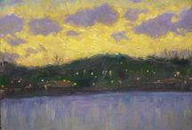 The ice Boating Lake, and the Olad-hill at dusk - oil / cardboard, 2017.