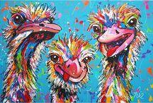 vrolijke schilderijen struisvogels