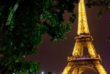 Eiffel Tower and the Seine River - night lights