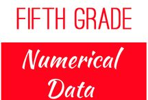 Fifth Grade: Numerical Data / This board contains resources for Texas TEKS:   5.9A -  represent categorical data with bar graphs or frequency tables and numerical data, including data sets of measurements in fractions or decimals, with dot plots or stem-and-leaf plots  5.9B -  represent discrete paired data on a scatterplot  5.9C -  solve one- and two-step problems using data from a frequency table, dot plot, bar graph, stem-and-leaf plot, or scatterplot