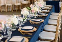 navy blue and blush wedding decorations