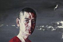 chinese painters / 方力鈞 (Fang Lijun), 岳敏君 (Yue Minjun), 張曉剛 (Zhang Xiaogang), 王广义 (wang guangyi), 曾梵志 (Zeng Fanzhi), 徐冰 (Xu Bing).