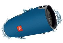 The Splashproof JBL Xtreme / JBL Xtreme is the ultimate portable Bluetooth speaker that  delivers earth-shaking, powerful stereo sound by incorporating four active transducers and two visible JBL Bass Radiators. Packing up to 15 hours of playtime and dual USB charge out, this speaker easily keeps your music and your devices going for as long as you need them to. It also features  JBL Connect that can wirelessly link multiple JBL Connect enabled speakers together to amplify the listening experience. / by JBL