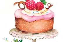 Watercolor cakes drawing