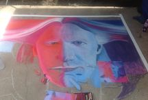 Hippie Fest aug 16, 2014 / Chalk art of Johnny Winter 6x6  1st place winner and people choice award Julie Graden and Ilona Fries