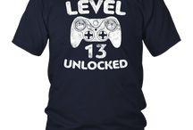 Level 13 Unlocked T-Shirt 13th Video Gamer Birthday Gift